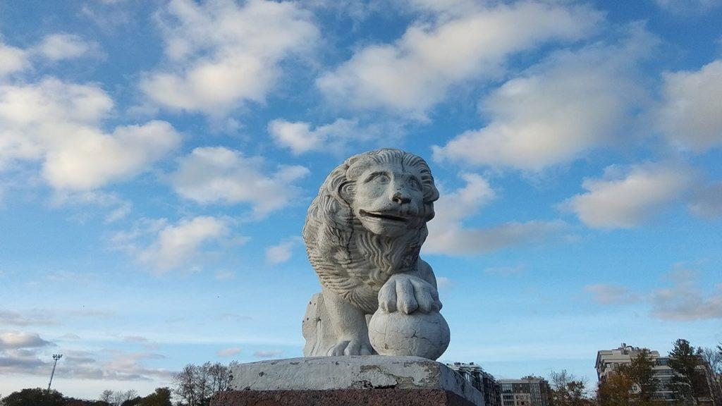 стрелка елагина острова.сторожевые львы.